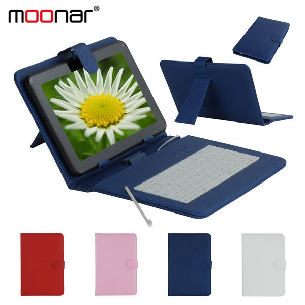 Micro USB Keyboard Faux Leather Case For 9 inch Tablet PC + 1X Stylus Pen 4 Colors Available PCA0054*20(China (Mainland))