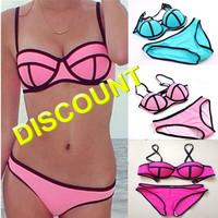 2014 Sexy Neoprene Bikini Triangle Swimsuit Halter bikini Swimwear Bikinis Set 12 Colors Beach Bathing Suit biquini brasileiro