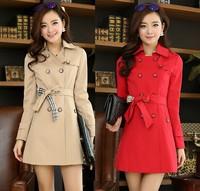 Plus Size M-XXXL 2015 Korea Fashion Spring Autumn Women Cotton Elegant Plaid Double Breasted Slim Trench Coat Casual Outerwear