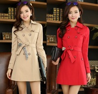 Plus Size M-XXXL 2014 Korea Fashion Spring Autumn Women Cotton Elegant Plaid Double Breasted Slim Trench Coat Casual Outerwear
