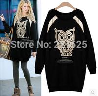 Hot Selling 2014 Women Fashion OWL Hoody Sweatershirt Ladies Spring Winter Casual Thick Hoodie Dress
