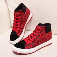 2014 Women Casual Sneakers Leopard Lace Up Canvas Autumn Winter Fashion High Top Boots Sapatos Femininos Print Platform Shoes