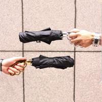 "Man's Cool Boxing Umbrella Sunny And Rainy Umbrellas Three-Folding ""F.I.S.T"" Style Umbrella Black Free Shipping"