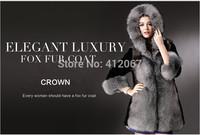 Fashion Winter Black ladies Faux Long Fox Mink Coat Elegant Coats Women Mink Fur Coats With Fur Trim Hood