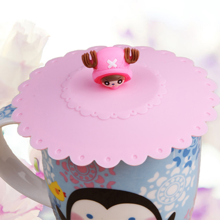 2015 Hot Pink Cute Anti Dust Silicone Glass Cup Cover Coffee Mug Suction Seal Lid Cap Cartoon Pattern Pretty Girl(China (Mainland))