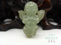Certified Happy Angel Natural Burmese Emerald Green Jadeite Jade Pendant 2.96 g Best Gift For Children Free Shipping On Sale