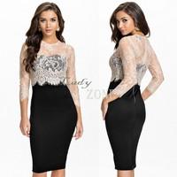2014 New Women's Party Vestidos Bodycon bandage dress Pencil Office Sexy Lace Dress One-piece Dress Size S M L  b9 CB033575