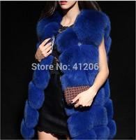 Fashion Red Black Green Blue White Women Fox Fur Coats Lady Leather Vest Waistcoat Winter Faux sleeveless shirts