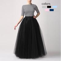 Women Long Skirt New Fahsion 2015 Muslim 100cm Long Tutu Skirt Ball Gown 3-layers Shir Mesh Pleated Skirt For Women Girls141222