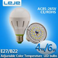 10pcs/lot  E27 B22 4w 6W AC85-265V warm white to pure white color temperature adjustable led  LED Bulb Bubble Ball