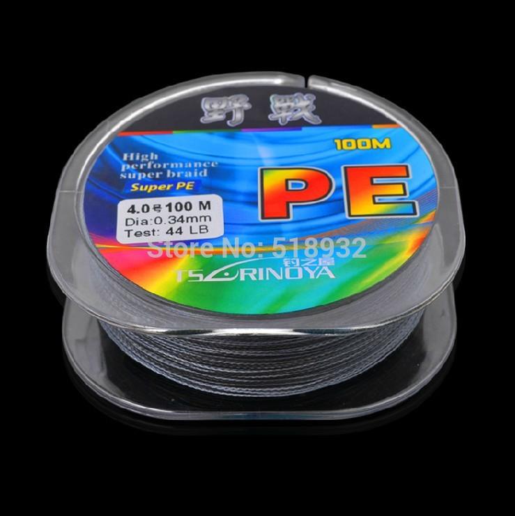 Free shipping PE line Strong horse line field grey/green/4 compiled 100 meters 0.6-7 road line hot saling fishing line(China (Mainland))