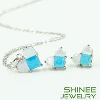 Shinee Fashion Pendant Necklace And Stud Earrings Set Heart Pendant Necklace Earrings Sets For Women Wedding Engagement
