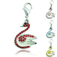 Hot Sell Fashion DIY Style Charm Rhinestone Alloy Cross Swan Lobster Clasp Pendant Jewelry Accessories