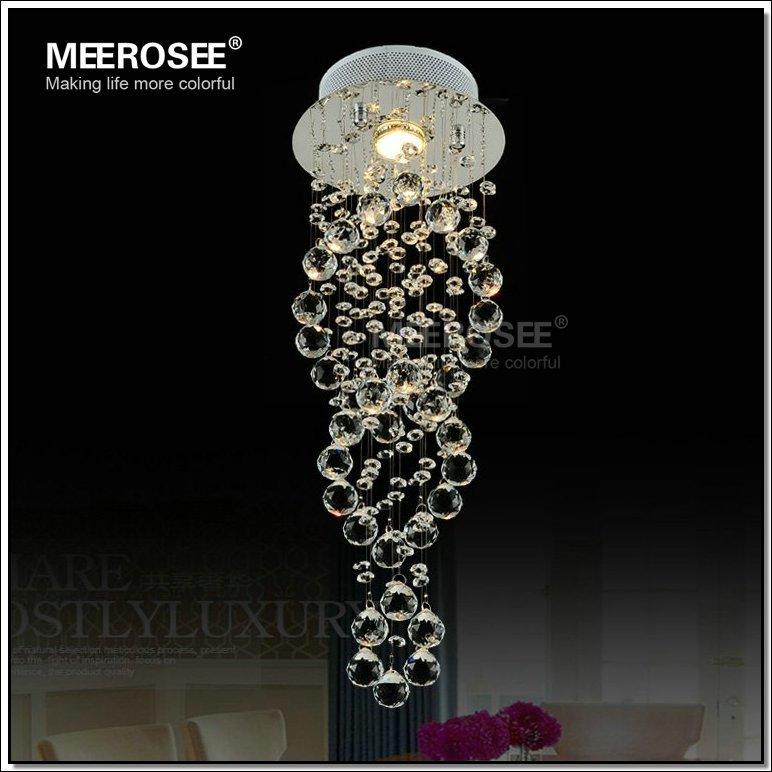 Spiral candelabro de cristal luminária com GU10 lâmpada embutida de cristal Lustre luz para escadas varanda corredor corredor(China (Mainland))
