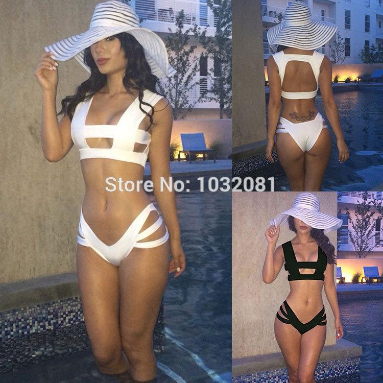 2015 sexy bikini cut out bikini set black white swimsuit bandage swimwear women plus size bathing suit biquini maios M L XL V58(China (Mainland))