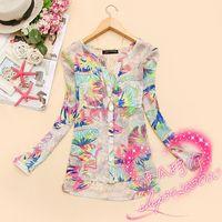 Womens Fashion 2014 Elegant Blouse V-neck Tropical Blusas Femininas Long Sleeve Printed Slim Chiffon Blouse