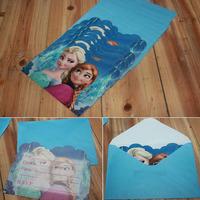 12set/lot 14*11cm Card and 14.5*11cm Envelope Frozen Princess Elsa Anna Design Children Gift Party Favors wd903