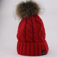 Hat fashion women Beanie Real Raccoon Fur Ball Stripe Sweater Winter Caps Fur Warm Casual For Women Skullies Beanie