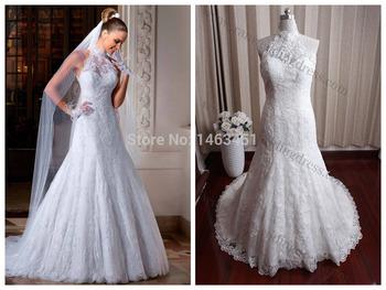 2015 реальный образец высокая шея свадебные платья свадебные платья реальные фотографии свадебные платья casamento популярные стиль в бразилии
