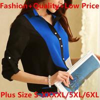 Quality Autumn Chiffon Blouse Shirt S-XXXXL 5XL 6XL Plus Size Patchwork Style Women Clothes Tops Roupas Casual Blusas Femininas