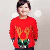 2014 news  Boys Girls Cartoon Christmas elk long-sleeved sweater coat kids clothing Merry Christmas