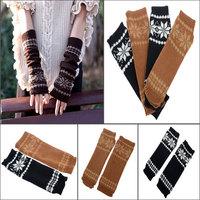 Trendy Long Knitted Fingerless Gloves For Women Autum/Winter Long Warm Knitted Snowflake Fingerless Gloves