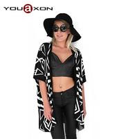 1309 YouAxon Plus Size Poncho Aztec Tribal Geometric Long Desigual Asymmetrical Cloak Sweaters Cardigan For Women a+ Sweater