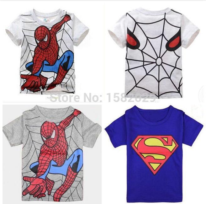 New 2015 boy's t shirt Spiderman cotton short-sleeved t-shirt printing children's cartoon gray kids boys child's clothes(China (Mainland))