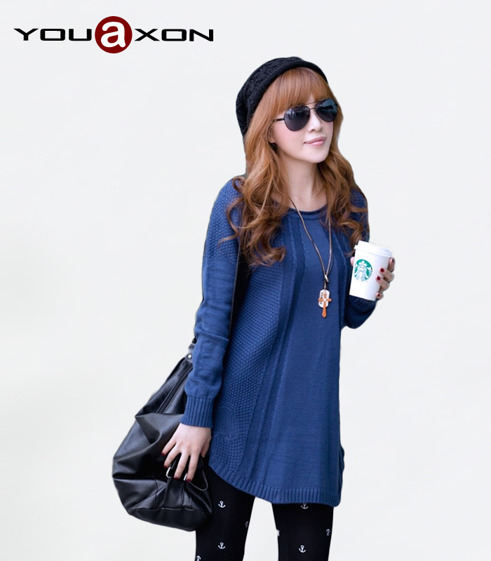 1258 YouAxon Hot Sale 6 Colors Ladies Casual Plus Size Long Sleeve Knitted Asymmetrical Pullovers Jumper for women sweater(China (Mainland))