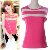 2015 plus size S-XL Fashion Women Blouses Patchwork Chiffon Blouse Casual Shirt Spring Summer Blusas Femininas 5 color