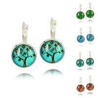 2015 Fashion Jewelry Art Tree Glass Cabochon Silver Earrings , French Lever Back Dangle Earrings For Women