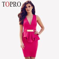 Topro Casual Peplum Elegant Black Deep V Neck Sexy Midi Dress 2015 Vestidos Femninos OL Formal Dresses Women Clothing HW0201