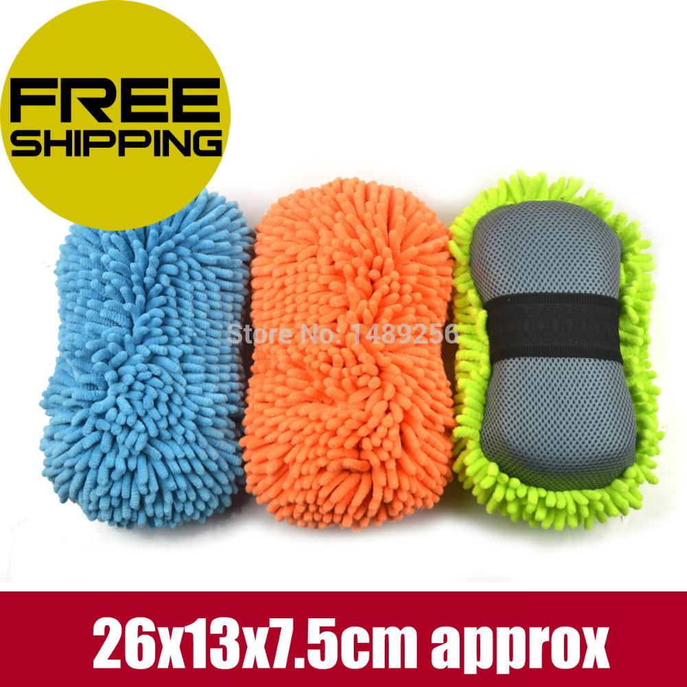 3PCS Top Quality Car Washer Ultrafine Fiber Microfiber Chenille Anthozoan Blue Auto Cleaning Sponge Wax Polishing Dust Pad 2IN1(China (Mainland))
