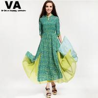 [VA]vintage long dresses for women casual maxi dresses green and yellow cute elegant half sleeve vestidos woman 2015 P00071