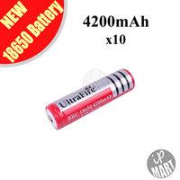 FS! 3.7V Ultrafire Battery 18650 4200mAh  Li-lon Battery Rechargeable Battery (Red) for LED flashlight 10pcs/lot