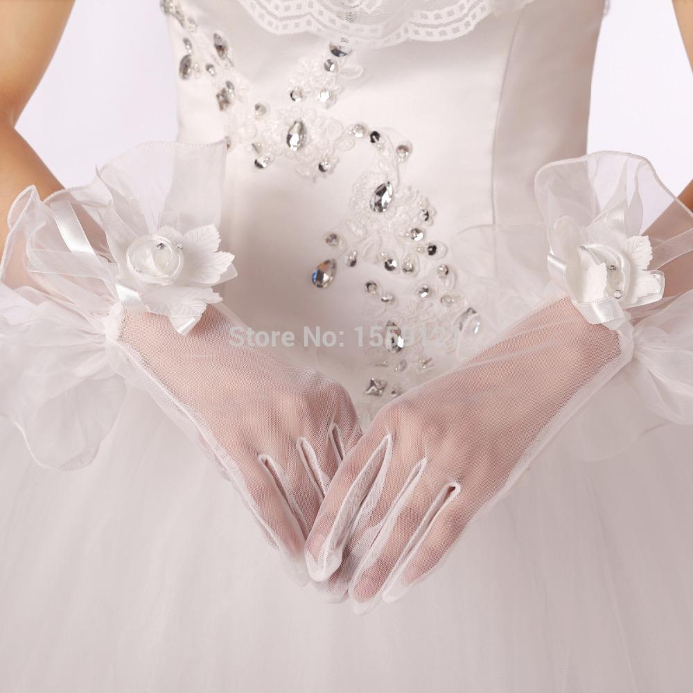 [해외]화이트 GlovesHandmade 꽃 장식 손가락과 손목 길이 웨딩 ..