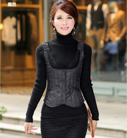 2014 New Fashion Lace Vest Women Winter Female Women's Down Slim Vest Of Women Veste Femme Colete Feminino Vests