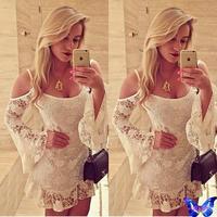 New 2015 Women Clothes White Lace Crochet Dress Off Shoulder Straps Party Dress Lotus Sleeve Peplum Dress Vestido Branco Festa