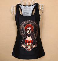 european style brand women sexy tops fashion women 3D skull girl printed blusa feminina renda t shirts, women's Dropship XY062