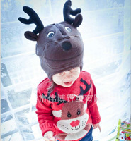 Christmas reindeer cute new cotton knit baby hat ear cap