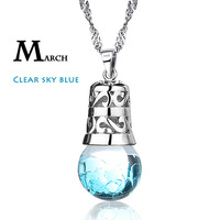 1PC New 925 Sterling Silver Necklace Birthstone Pendant Colorful Necklace Brand design Exquisite Jewelry Gift For Fashion women