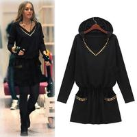 Winter Dress Pullover S-XXXXL New Fashion Women Casual Dress Blouse Spring Autumn Sexy Loose Plus Size Dress Black#ZJJ253