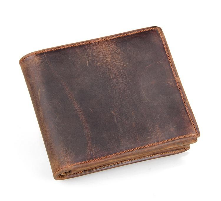 Crazy horse leather men Wallets 2015 New arrival man brand design purse card vintage wallet card holder short fold wallets men(China (Mainland))