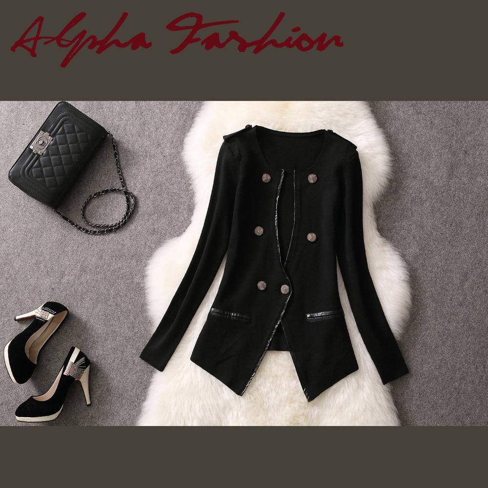 Alpha 2015 Spring Women Wool Casual Blazer Knitted V-cut Collar Slim Waist Women Fashion Blazer Coat Black Beige Brown Khaki(China (Mainland))