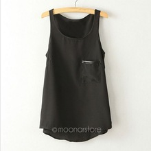 Fashion 3 Colors New Simple Casual Solid Women Girl Chiffon Sleeveless Vest Tank Tops Blouse T