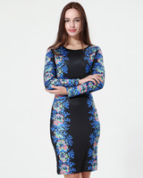 New Hot Stylish Summer Women Casual Clothing Black&Blue Print Flower Dress Long Sleeve Plus Size Free Shipping