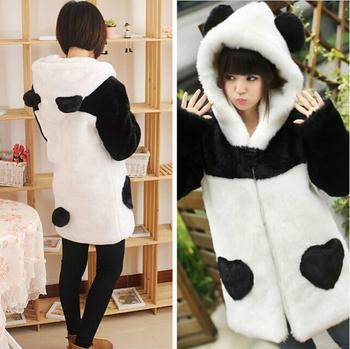 M-xl 2014 мори девушка зима Harajuku длинное пальто черный белый китайская панда искусственного меха женщин пальто тепловая одежда Большой размер