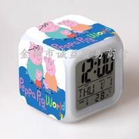 LED 7 Colors Change Digital Flash Touch Alarm Clock peppa / pepa pig / George Pig Clocks Night Colorful Glowing toys 12-19-YS