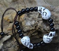 OMH wholesale 6.5 mm mix jewelry beads skull  ghost head men and women bracelet SZ55