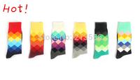 Free shipping 1lot=6pairs=12pcs brand happy socks men socks, british style cotton in tube socks Sports socks A54